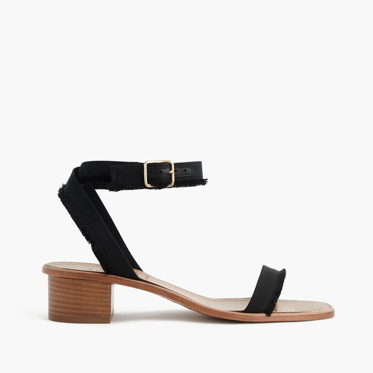 A walkable sandal with fringed grosgrain ribbon = the perfect made-in-Italy shoe. 1 3/4 heel (based on size 7). Cotton/acrylic upper. Man-made sole. Made in Italy. Online only.