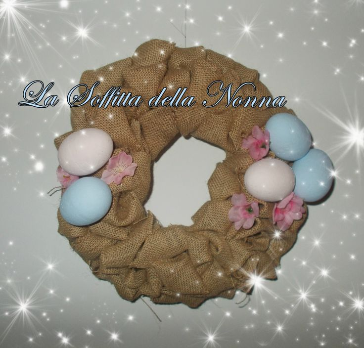 Burlap ruffled wreath with handpainted eggs and fabric flowers