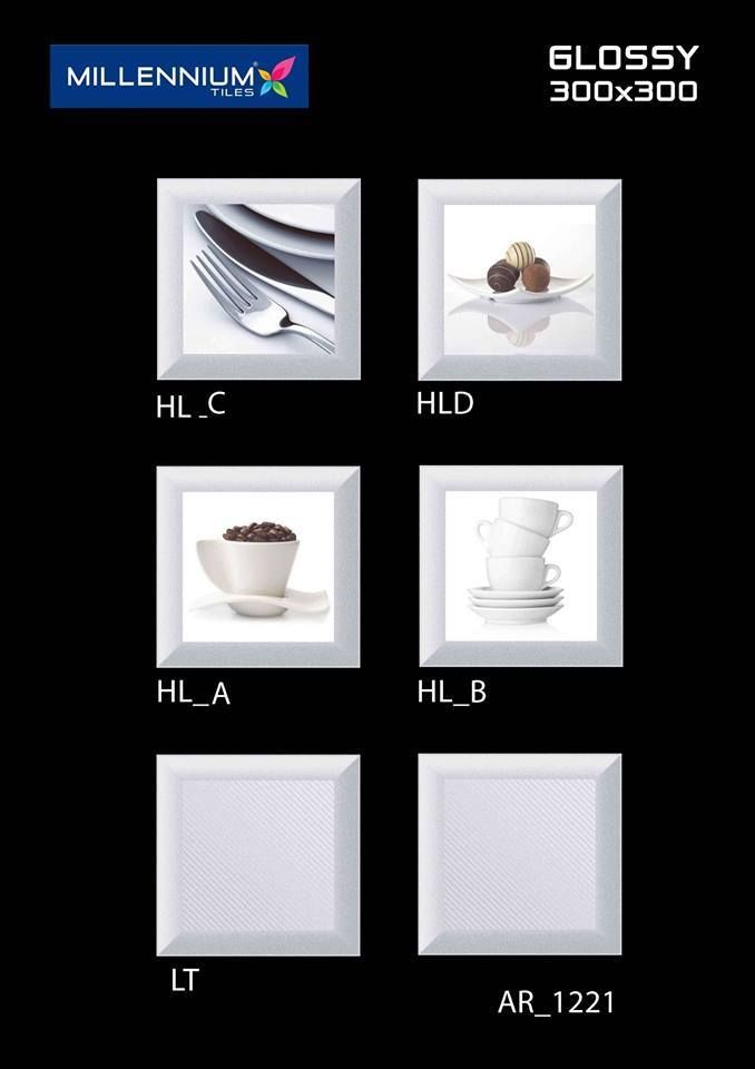 Decorative #tiles add character and depth to modern spaces.  AR_1221 - Millennium Tiles 300x300mm (12x12) Digital Ceramic Glossy Wall #Tiles - LT_ - HL_A - HL_B - DK_  - High Definition Print Technology: High definition technology (HDT) captures detailing on every molecule of the tile surface and creates a virtually seamless digital canvas in almost any size or shape. #interiordesign #homedecor