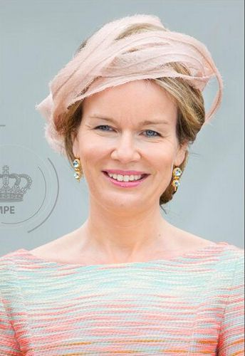 Queen Mathilde, July 10, 2014 in Fabienne Delvigne | Royal Hats-Mathilde christened a new Belgian Navy patrol ship