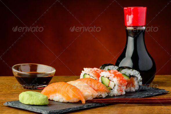 Nigiri, uramaki and futomaki sushi ...  asian, chopsticks, cuisine, fish, food, futomaki, japanese, maki, meal, mixed, nigiri, plate, raw, restaurant, rice, rolls, salmon, sauce, seafood, snack, soy, still life, sushi, traditional, uramaki, wasabi Visit: http://vector.work :  Realisitc Photos
