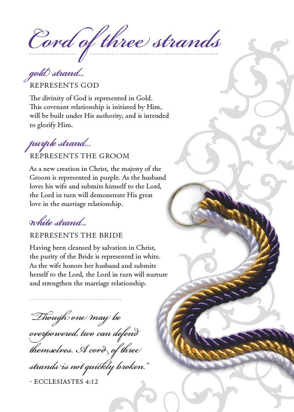 The Cord of Three Strands is a God's Knot original! It's a beautifully hand-crafted symbol to be used in your wedding ceremony. Cord of Three Strands - Includes: - rayon cords in brilliant colors atta
