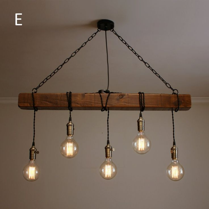 Handmade Rustic Wooden Chandelier – Wood Beam Industrial Pendant Lamp