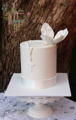First Communion white flower cake