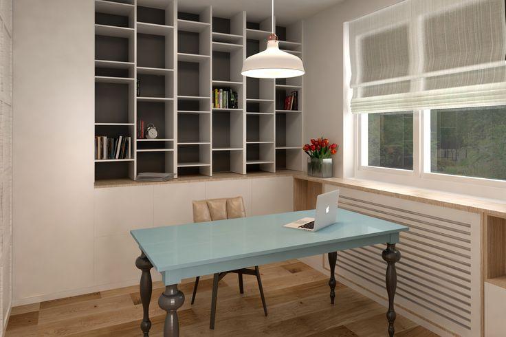 #shelves #desk #skyblue #white #hanginglamp  #flowers #whitewindow #wood