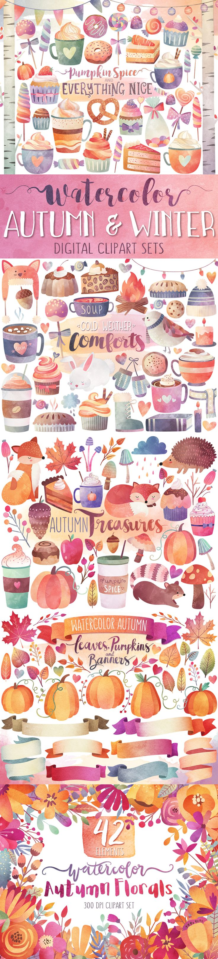 Beautiful Autumn & Winter Watercolor Clipart Sets - Only $1.79!