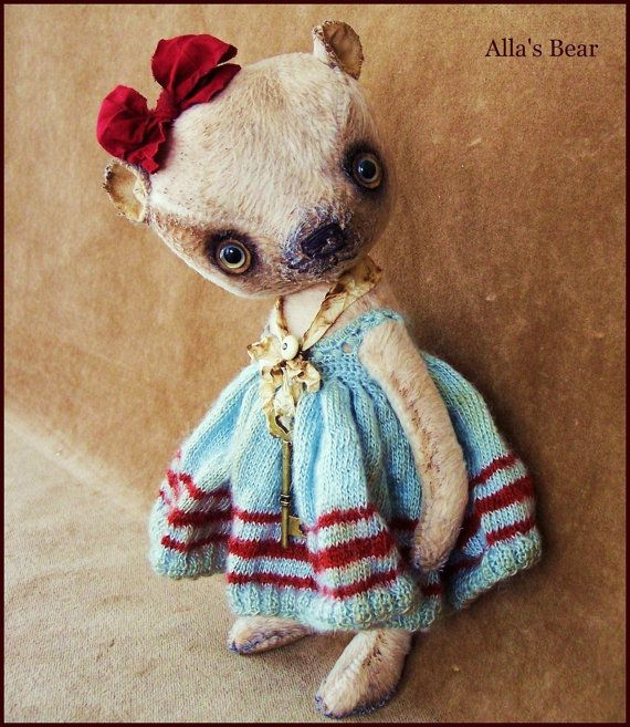 "By Alla Bears Vintage Sea 10"" inch artist Old Teddy Bear art doll OOAK prim handmade toy baby girl Retro Antique button Silk custom dress"