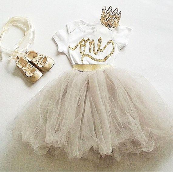 First birthday gold glitter one onesie by LolaandDarlaDesigns