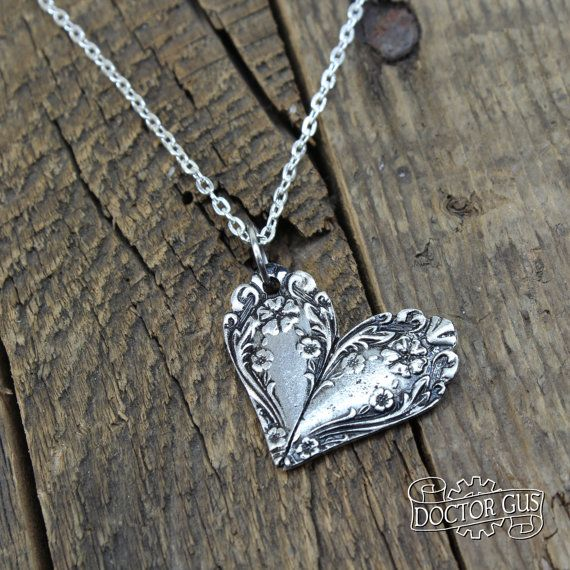 Ornate Spoon Heart Necklace – Flowery Pendant – Inspired by Antique Victorian Silverware – Doctorgus Handmade Pewter Jewelry – Cute Boho
