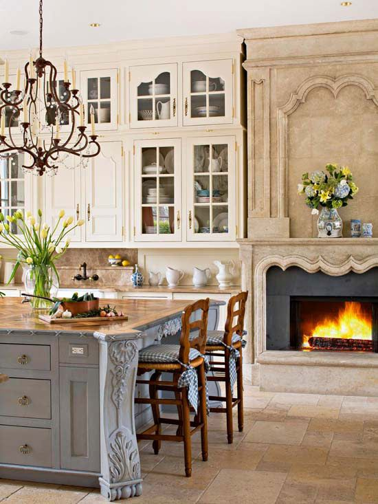 A French Inspired Kitchen Features A Luxurious Floor To Ceiling Limestone  Fireplace. (via BHG). 25 Fabulous Kitchens Showcasing Warm And Cozy  Fireplaces