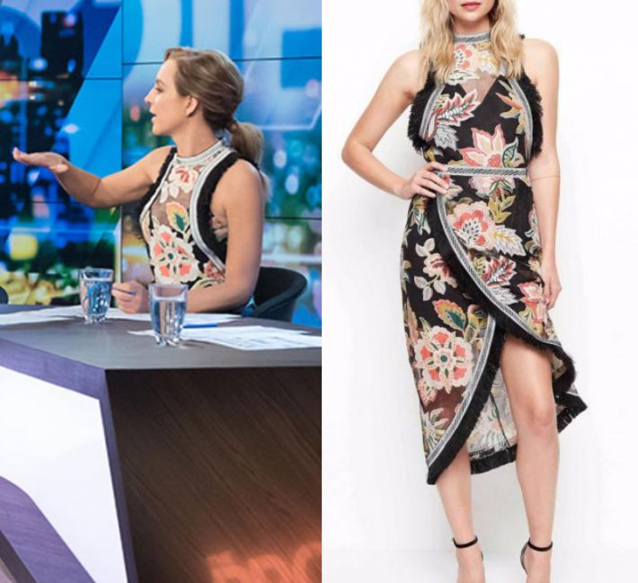 Carrie Bickmore wears this high neck lace floral printed sleeveless blouse in this episode of The Project on Wednesday November 8th, 2017. It is the Alice McCall Dream Lover Top.