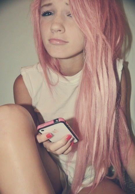 pink hair. love hipster hippo