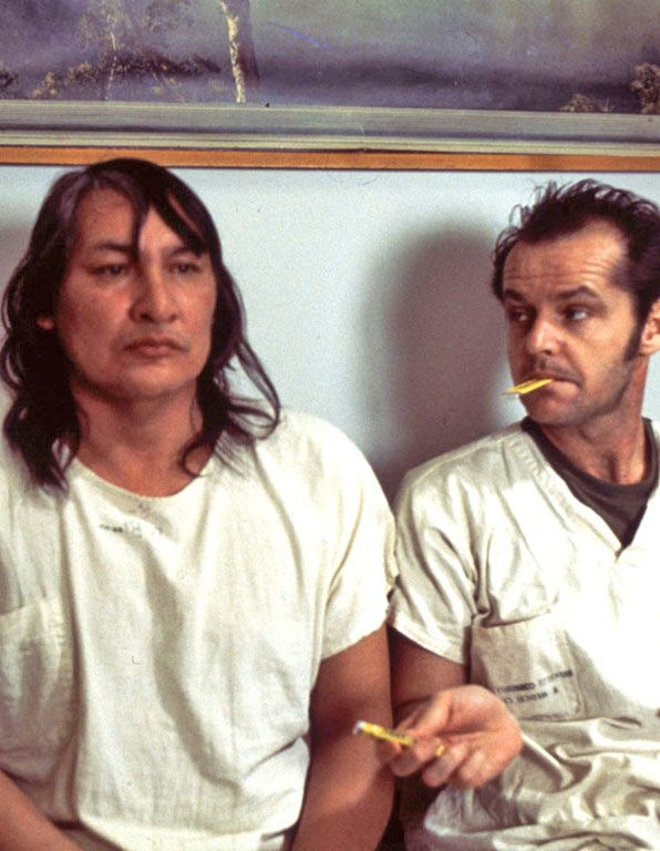 "Will Sampson as ""Chief"" Bromden with Jack Nicholson as Randle McMurphy. One flew over the cuckoo's nest, 1975.  ""Mm. Juicy Fruit""."