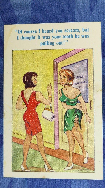 Comic Postcard 1960s DENTIST Orthodontist Nylons Stockings Large Boobs Theme…