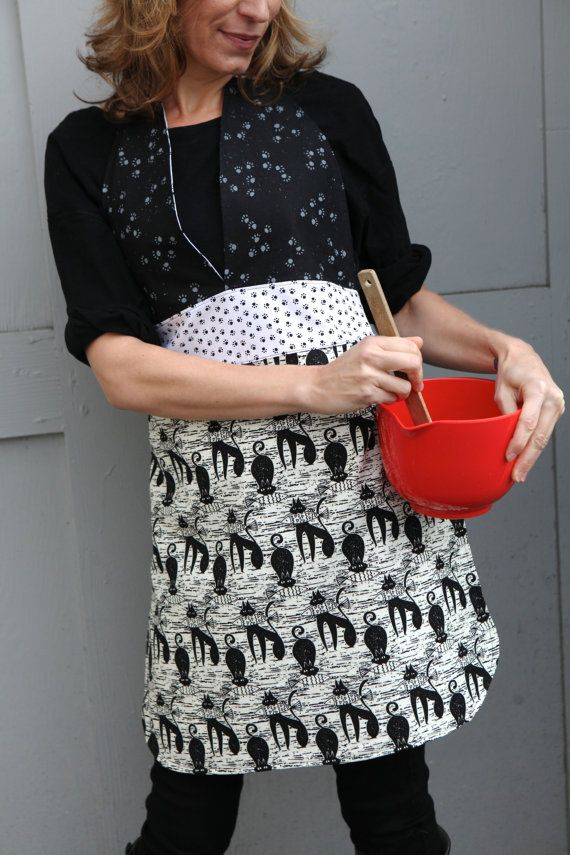 Friday Night Apron  for the CAT Lovers in B&W by QuiltsbyNona, $27.00