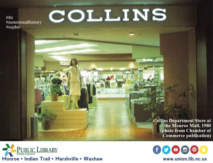 #tbt Collins moved from the Union Village shopping center when the Monroe Mall opened in 1979. This space later became Peebles Dept. Store by 1983.  Today, in 2017, this area is occupied by JoAnn's Crafts and the mall is known as Monroe Crossing. Learn a little history about the mall in our UCVF:  Monroe Mall -pmp UCPL #monroemallhistory #ucplnc #monroenchistory
