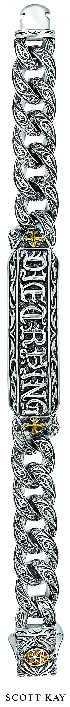 Mens Sterling Silver Die Trying Bracelet with 18K Accents $1,600.00 #ScottKay     http://www.scottkay.com/die-trying-bracelet/d/1534_c_201