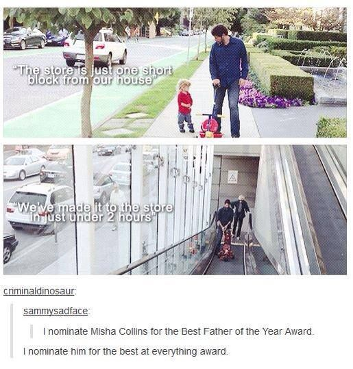 Misha Collins and West <3 This is actually accurate for going anywhere with a toddler.