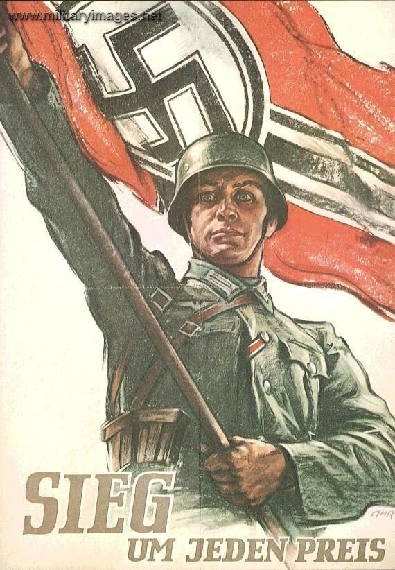 "Nazi propaganda poster .  Says : "" Victory at any prise "" ..."