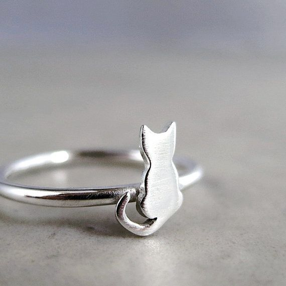 Cat ring Sterling Silver tiny kitten animal by BarronDesignStudio