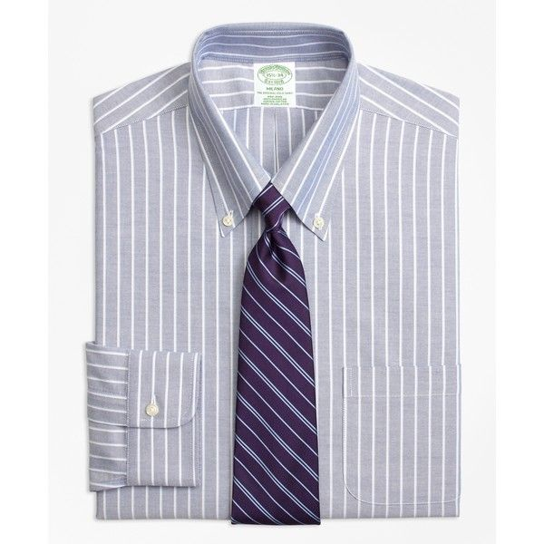 Brooks Brothers Non-Iron Milano Fit BrooksCool® Ground Shadow Stripe... ($92) ❤ liked on Polyvore featuring men's fashion, men's clothing, men's shirts, men's dress shirts, navy, mens navy blue dress shirt, brooks brothers mens shirts, american eagle mens shirts, mens wicking shirts and men's non iron dress shirts