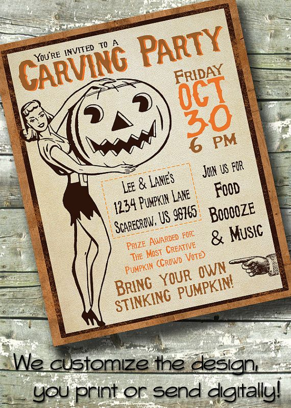 vintage halloween party pumpkin carving party adult 5x7 invite 85x11 flyer - Creative Halloween Party Invitations