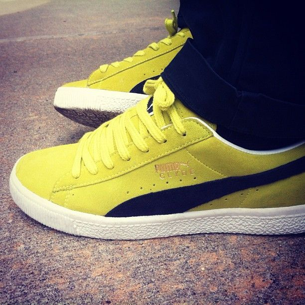 puma clyde suede classic blue yellow