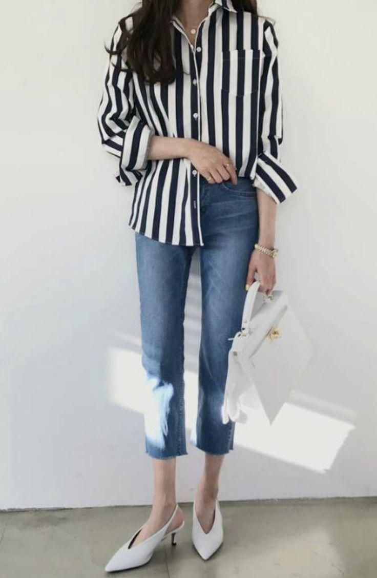 STYLEBYYAM - Pocket-Front Stripe Shirt #koreanfashion #koreanstyle