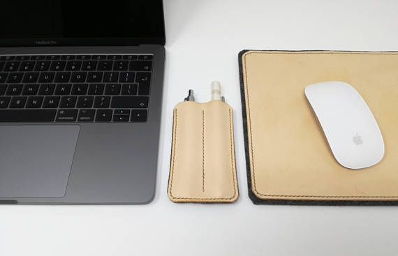 Handcrafted Italian Leather & Wool Felt Pen / Stylus Holder. Made with Real Italian Leather and Pure Wool Felt. Hand stitched with waxed linen thread. Perfect for holding pens, pencils or phone/tablet stylus while on the go. Choose from Light Grey, dark Grey or Black wool felt to match