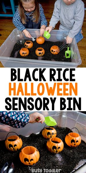 Black Rice Sensory Bin for Halloween