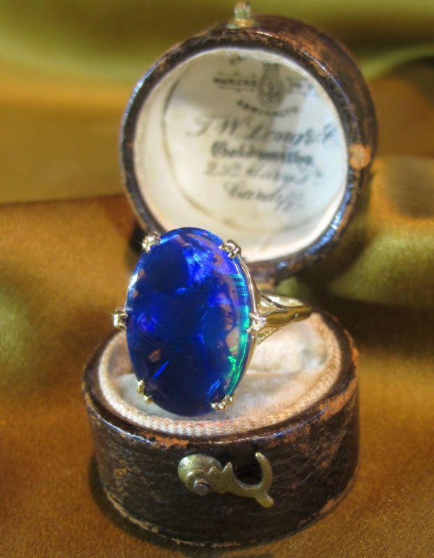 18K BLACK OPAL SOLID VINTAGE RING ROSE GOLD BOX RARE VICTORIAN   Might be my something blue