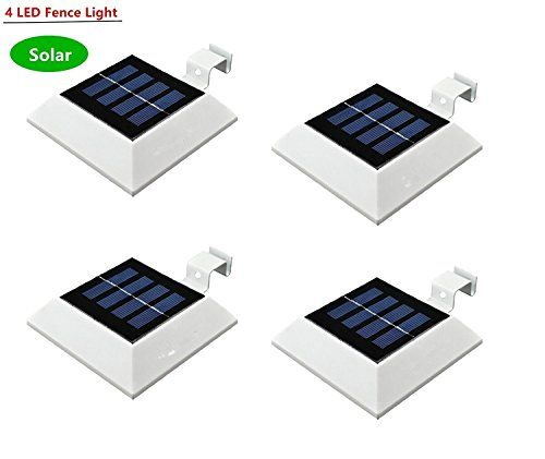 Falove Solar Powered 4 Led Light For Outdoor Garden Roof Gutter Fascia Board Fence Tiki Hut