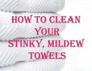 I've done this before and it's time again: Wash your towels in hot water with a cup of vinegar, and then run again in hot water with a half-cup of baking soda. That will strip your towels from all of that residue and mildew smell and will actually leave them feeling fluffy and smelling fresh. (Do not add laundry detergent to either wash. Just once with vinegar and once with baking soda.) good to know for the future. by Kmpassion