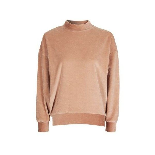Topshop Petite Velvet Batwing Sweatshirt (£28) ❤ liked on Polyvore featuring tops, hoodies, sweatshirts, camel, topshop tops, red sweatshirt, velvet top, batwing sweatshirt and red top