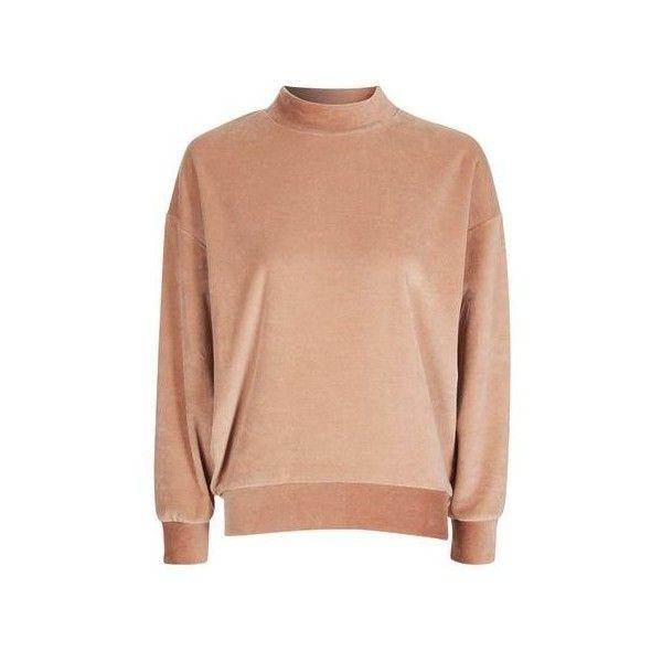 Topshop Petite Velvet Batwing Sweatshirt (£28) ❤ liked on Polyvore featuring tops, hoodies, sweatshirts, camel, topshop tops, red sweatshirt, velvet top, batwing sweatshirt and red top