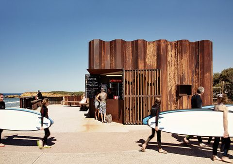 The Third Wave Kiosk opened on the shores of Torquay, Australia, in 2011. The city, located on the country's eastern coast, is known for its world-class surfing. Photo by Rory Gardiner.