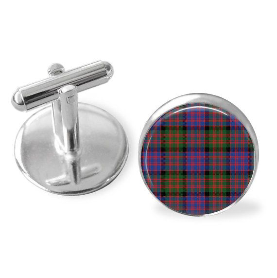 MACDONALD TARTAN CUFFLINKS / Scottish Tartan by BjeweledVintage