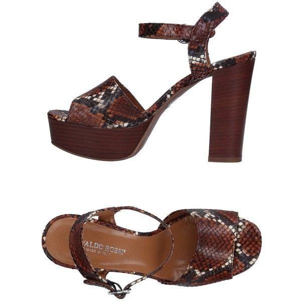 Osvaldo Rossi Sandals ($156) ❤ liked on Polyvore featuring shoes, sandals, brown, snake print shoes, brown buckle shoes, brown leather sandals, leather buckle sandals and brown leather shoes