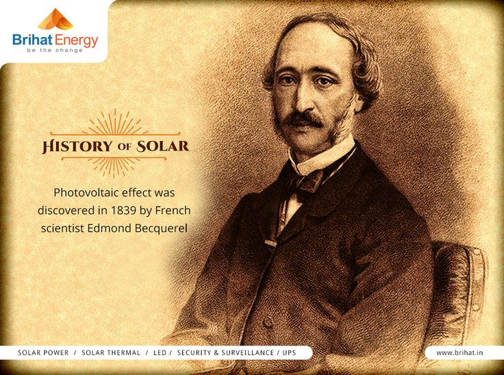Photovoltaic effect was discovered in 1839 by French scientist Edmond Becquerel, #HistoryofSolar  Visit: http://www.brihat.in/