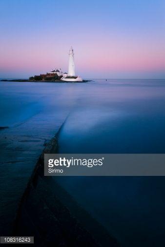 Stock-Foto : St Mary's Lighthouse Sonnenuntergang, lange Belichtung