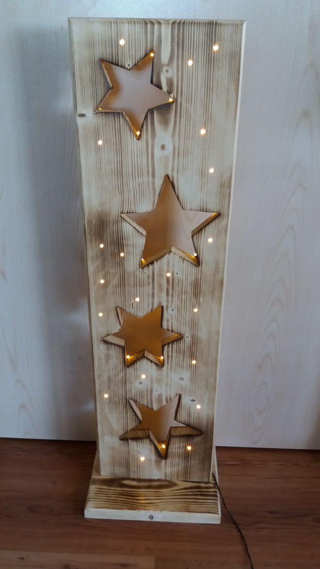 Holzbrett mit Sterne + LED Beleuchtung – Deko-Objekte – Wohnaccessoires – Mit Li…