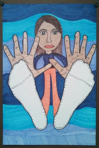 Self Portrait - 5th Grade, forced perspective, sharpies. Art teacher Jennifer Lipsey Edwards.