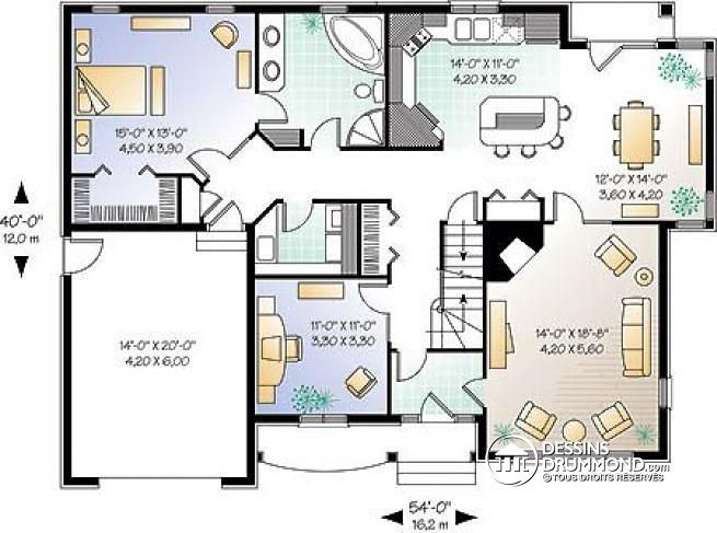 Detail du plan w3443 plans pinterest bureaux garage for Plans de maison de famille