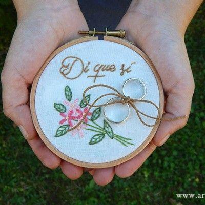 Porta Alianzas Bastidor Pedida de Mano.  Wedding Art Embroidery Hoop. www.arorua.es