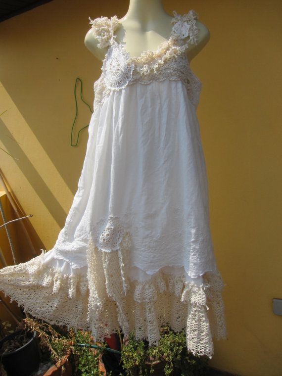 """vintage inspired shabby chic dress with ruffles of crochet lace..medium to 42"""" bust ... on Etsy, Sold"""