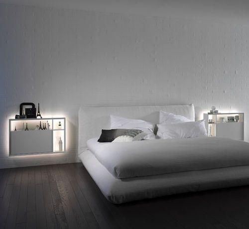 Bedside table / contemporary / lacquered wood / rectangular BOOKLESS by Gino Carollo & René Chyba interlübke