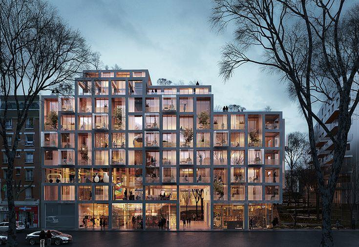 SANE architecture's building proposal in paris presents original spatial configuration