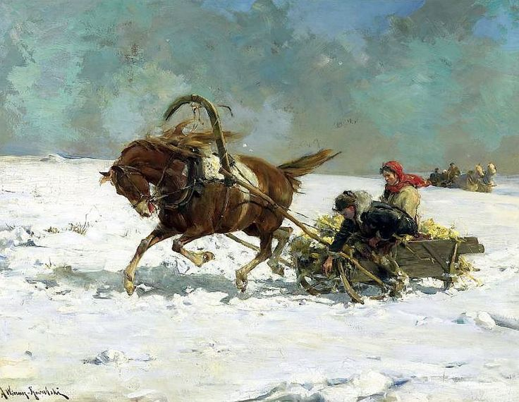 Alfred von Wierusz-Kowalski (Polish painter) 1849 - 1915 The Sleigh, s.d. oil on board 19 3/4 x 25 2/3 in. (50 x 65 cm.) signed A Wierusz Kowalski (lower left) private collection