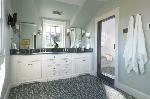 Benjamin moore 1569 night mist interiors and home decor for Kids jack and jill bathroom ideas