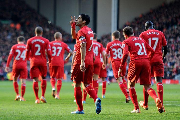 Luis Suarez of Liverpool FC against Cardiff City FC